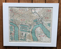 Mounted 1924 Street Plan of Limehouse and Isle of Dogs.