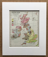 Mounted 1940 Map of British Isles showing Geological Structure.