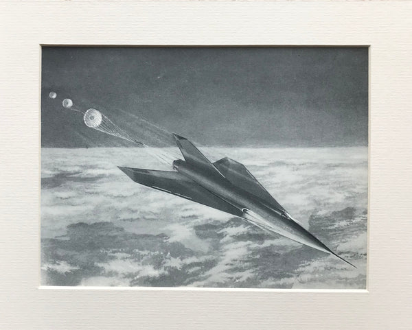 Mounted 1954 Winged Rocket Returning to Earth by RA Smith