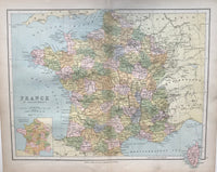 1880 Map of France by Collins.