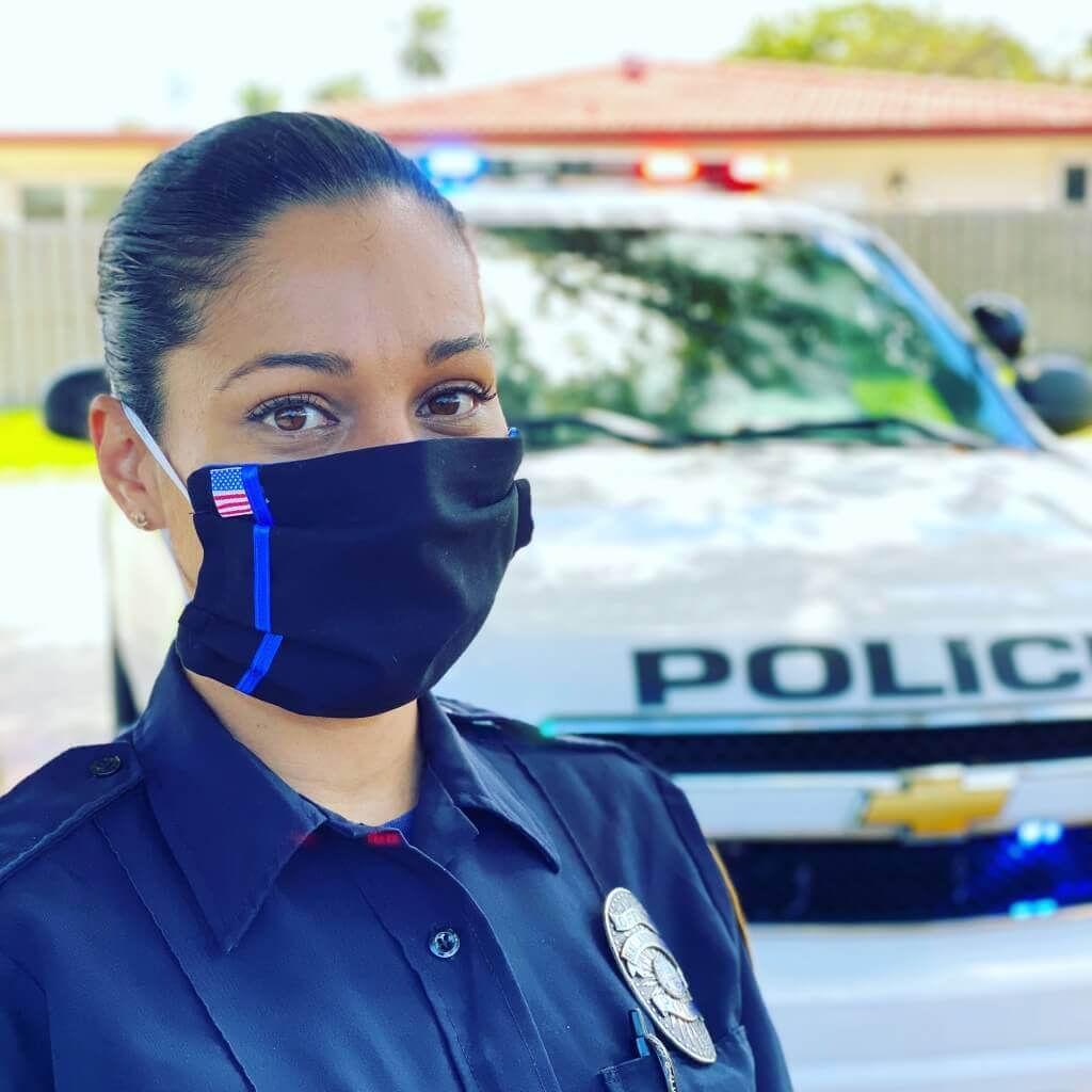 thin blue line police leo face mask