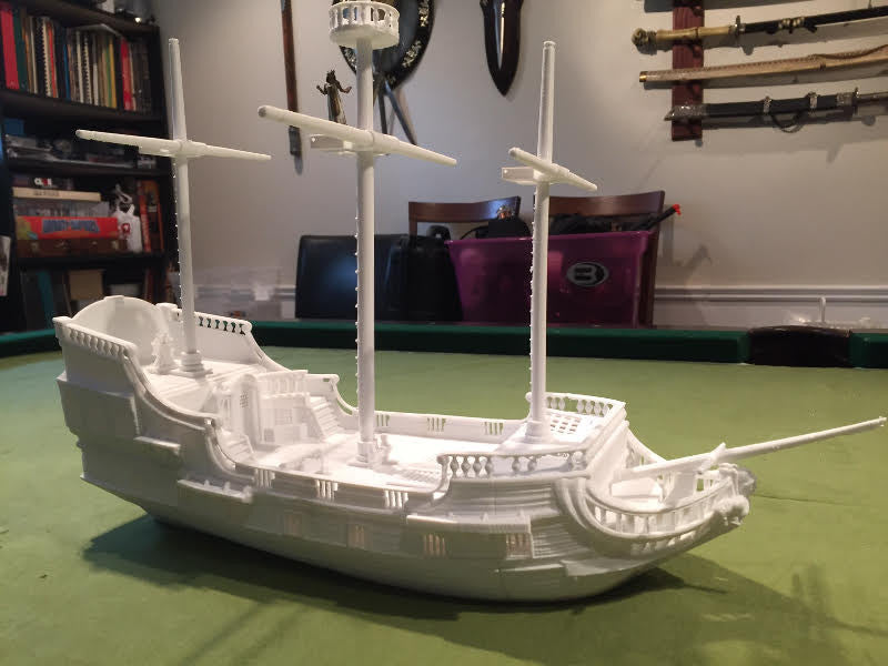 A boat and a Settlers of Catan game board printed from Filaments.ca filament by Steeve t