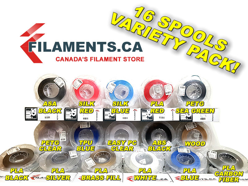 16 Spools Variety Package 3D Filaments Canada