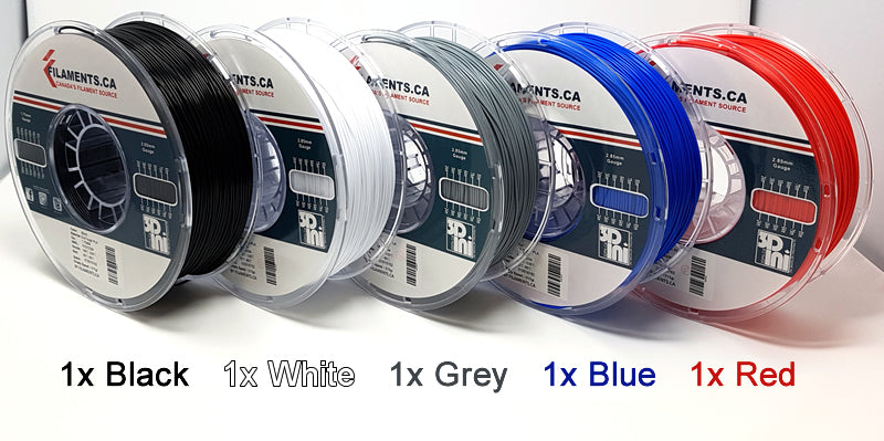 EcoTough PLA 3D Filament 5 Spools Pack Assorted Colors Canada