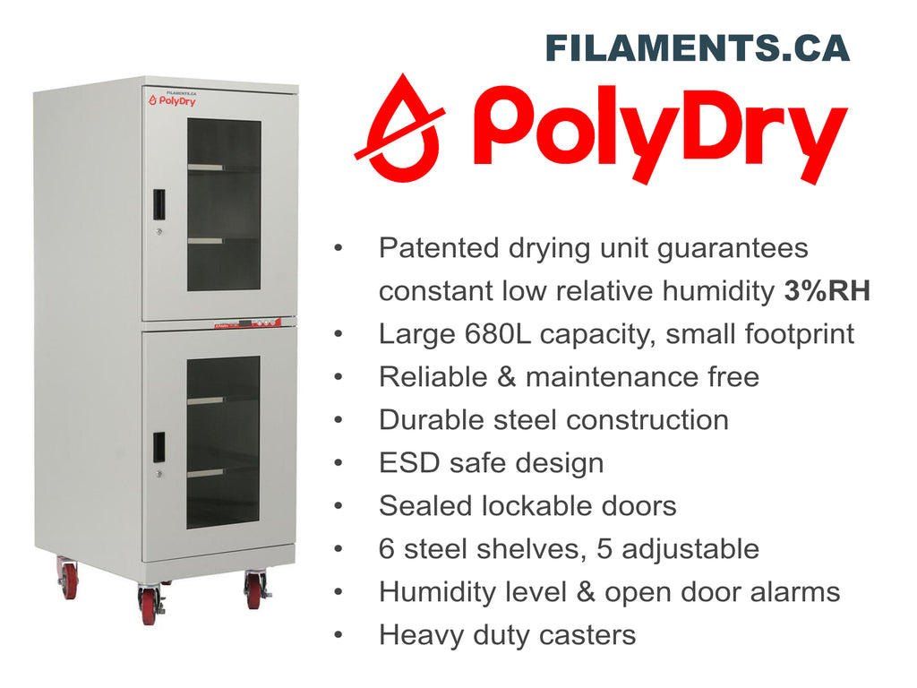 PolyDry Humidty Controlled 3D Printing filament storage cabinet Canada