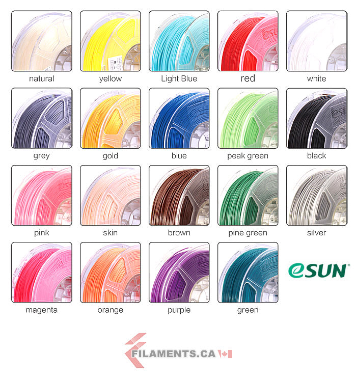 esun pla+ abs+ 3d printer filament colors Canada
