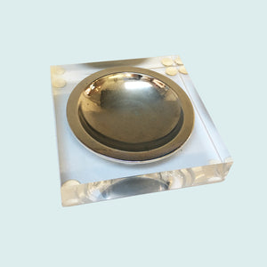 Lucite and chromed steel ashtray, 1980s