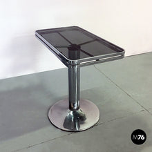 Load image into Gallery viewer, Steel and smoked glass console, 1970s