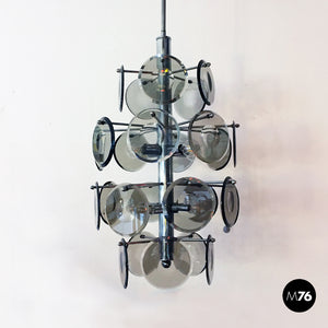 Bevelled glasses and chromed steel chandelier, 1970s