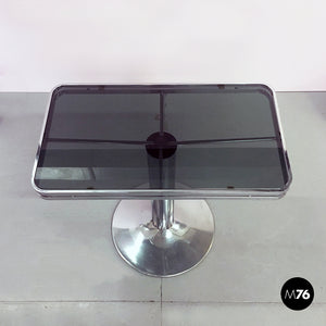 Steel and smoked glass console, 1970s