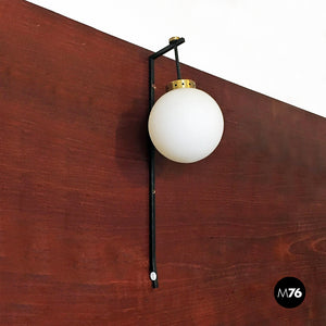 Opaline glass and brass wall lamp, 1950s