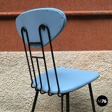 Load image into Gallery viewer, Set light-blue leatherette chair, 1950s