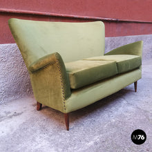 Load image into Gallery viewer, Green velvet sofa, 1950s