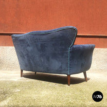 Load image into Gallery viewer, Blue velvet sofa, 1950s