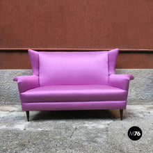 Load image into Gallery viewer, Two-seater sofa in pink silk, 1950s
