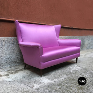 Two-seater sofa in pink silk, 1950s