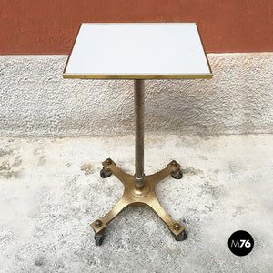 Brass and laminate high table with wheels, 1950s