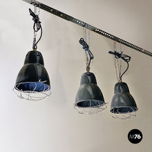 Load image into Gallery viewer, Dark gray industrial chandeliers, 1960s