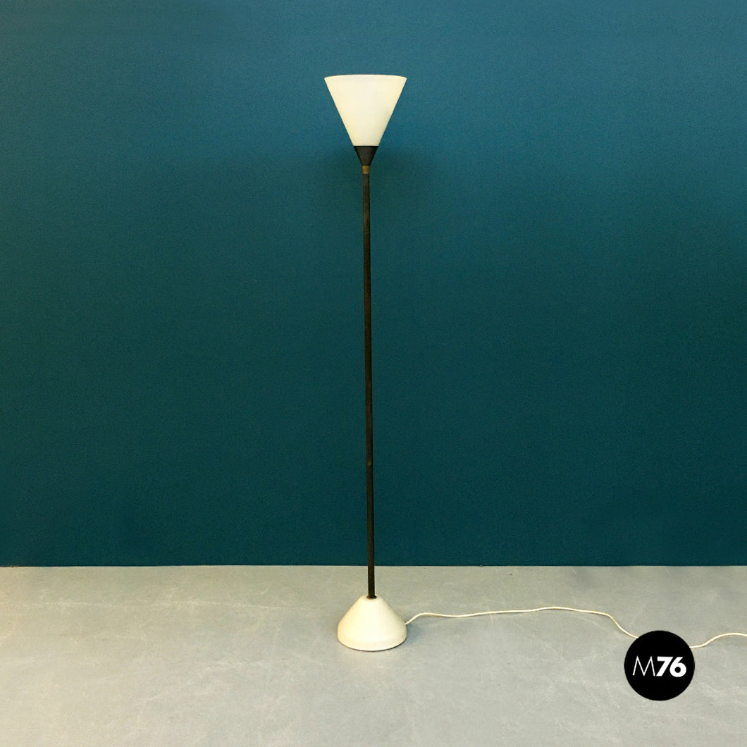 Glass and iron floor lamp, 1950s