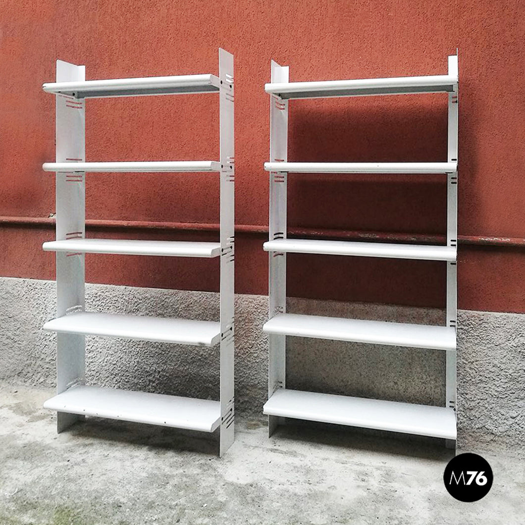 Set of two white metal bookcases, 1970s
