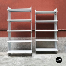 Load image into Gallery viewer, Set of two white metal bookcases, 1970s