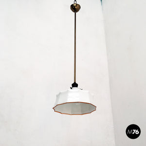 Classic shaped ceiling lamp in white glass, early 900s