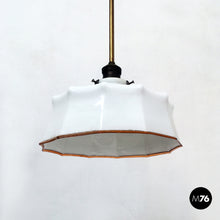 Load image into Gallery viewer, Classic shaped ceiling lamp in white glass, early 900s