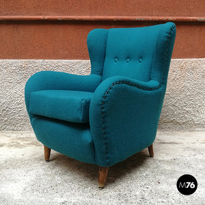 Teal-colored cotton and beech armchair, 1960s