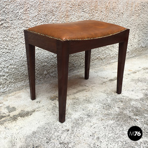 Leather and rosewood pouf, 1960s