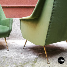 Load image into Gallery viewer, Set of green velvet armchairs, 1950s