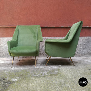 Set of green velvet armchairs, 1950s