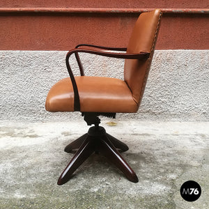 Italian wood and leather swivel office armchair, 1960s