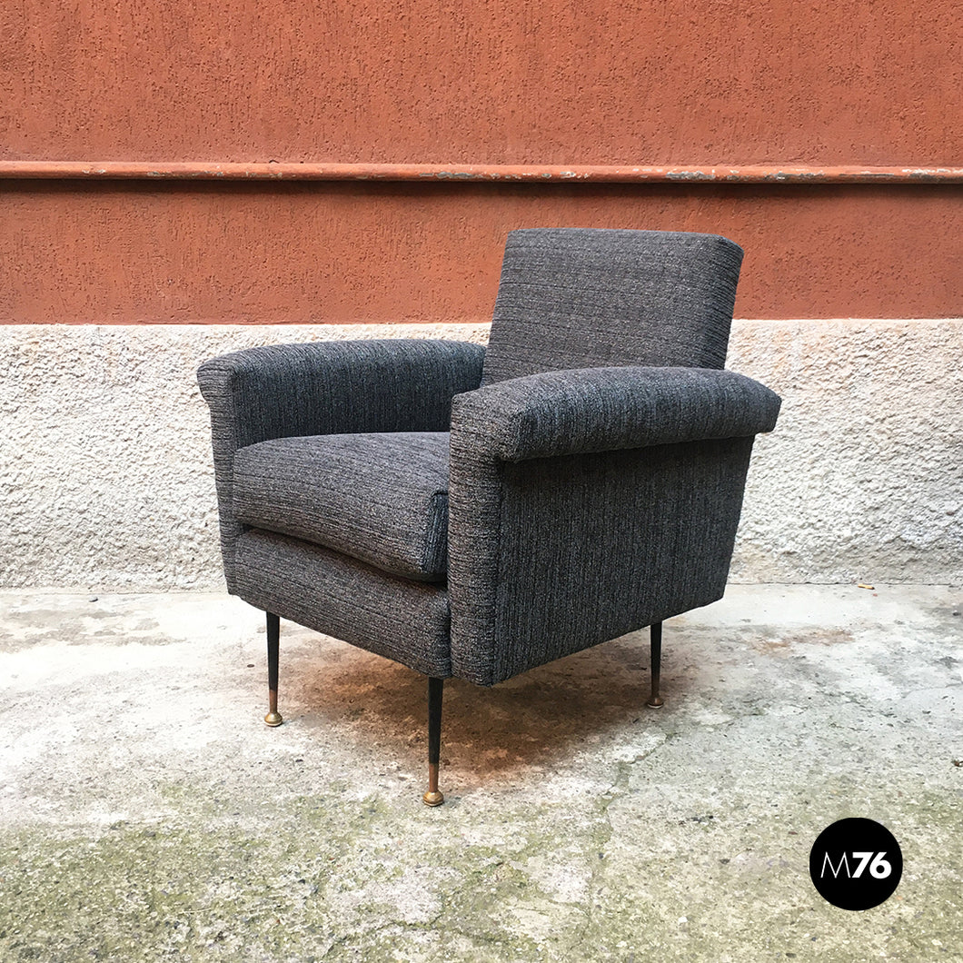 Textured grey fabric and metal armchair, 1960s