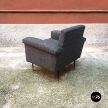 Load image into Gallery viewer, Textured grey fabric and metal armchair, 1960s