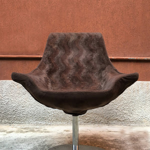 Large size armchair in brown fabric, 1970s