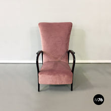 Load image into Gallery viewer, Pink velvet and wood armchair, 1950s