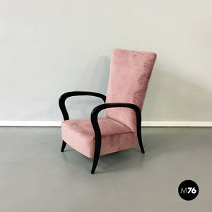 Pink velvet and wood armchair, 1950s