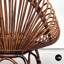 Load image into Gallery viewer, Oval-shaped rattan armchair in the style of Franco Albini, 1960s