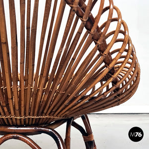 Oval-shaped rattan armchair in the style of Franco Albini, 1960s