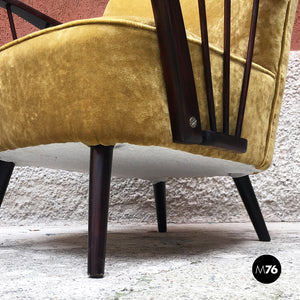 Danish solid beech structure and mustard-colored velvet armchairs, 1960s
