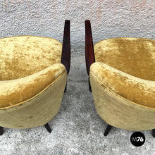 Load image into Gallery viewer, Danish solid beech structure and mustard-colored velvet armchairs, 1960s