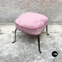 Load image into Gallery viewer, Set of three pink velvet armchairs and pouf, 1950s