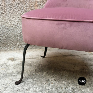 Set of three pink velvet armchairs and pouf, 1950s