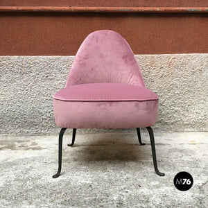 Pink velvet armchair and pouf, 1950s