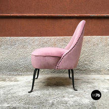 Load image into Gallery viewer, Pink velvet armchair and pouf, 1950s