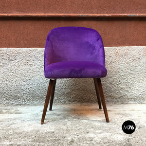 Danish armchairs with beech legs and purple velvet upholstery, 1960s