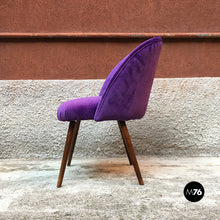Load image into Gallery viewer, Danish armchairs with beech legs and purple velvet upholstery, 1960s