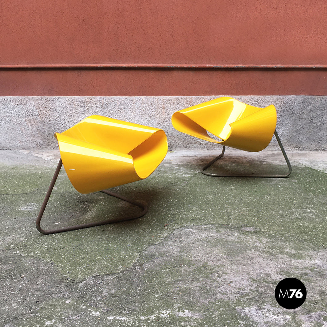 Yellow Nastro armchairs by Franca Stagi e Cesare Leonardi for Bernini, 1960