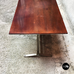 Wood top and steel base desk table by Formanova, 1970s