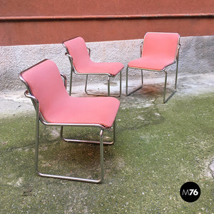Pink and chromed steel chairs, 1970s